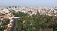Aerial View of Jardim da Estrela and Lisbon Skyline, Portugal Stock Footage