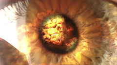 Eye Iris and Big Fire Explosion Stock Footage