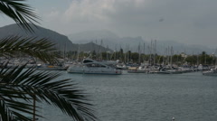 Shot of Sailboats Docked at mallorca port de soller. Stock Footage