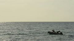 Raft on the Sea mallorca port de soller Stock Footage
