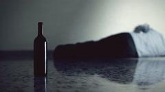 Stock Video Footage of Drunk man wine despair