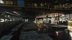 Aerial Shot Inside Big Industrial Building With Moving Electromagnetic Cranes. Stock Footage