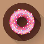 Cute sweet colorful donut icon. Flat designed style. Stock Illustration
