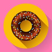 Cute sweet colorful chocolate donut icon. Flat designed style. - stock illustration