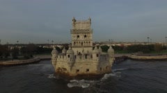 Aerial view of Belem Tower - Torre de Belem - in Lisbon, Portugal Stock Footage