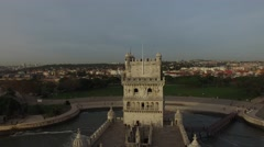 Aerial view of Belem Tower - Torre de Belem - in Lisbon, Portugal - stock footage