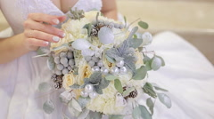 Bride Holding a Bouquet Stock Footage