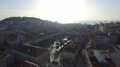Aerial View of Dom Pedro IV Square in Rossio, Lisbon, Portugal Stock Footage