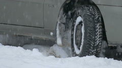 Emergency situation, tire in winter Stock Footage