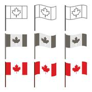 Vector Canadian flag icon set Stock Illustration