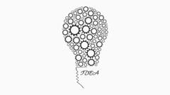 Stock Video Footage of Gears rotate inside Bulb idea Mechanism seamless loopable creativity animation