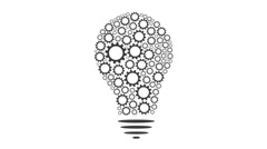 Gears Bulb idea Mechanism seamless loopable FullHD 1080p creativity animation Stock Footage