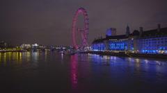 Illuminated London eye Stock Footage