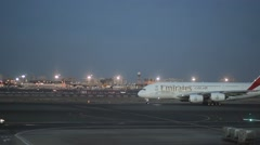 The plane of Emirates airlines is waiting for departure Stock Footage