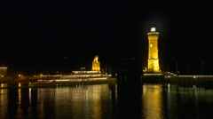 Harbor in Lindau at Lake Constance by night, Germany Stock Footage