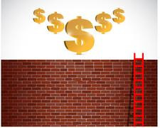 Ladder to gold and success Stock Illustration
