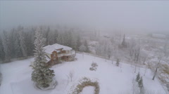 Aerial Shot of Large House Acreage Land Trees Forest Snow Winter Cold Fog Mist Stock Footage