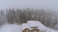 Aerial Shot of Large House Estate Acreage Trees Forest Snow Winter Cold Fog Mist Stock Footage