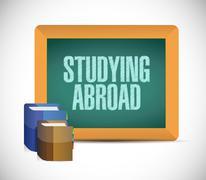 studying abroad board sign illustration - stock illustration