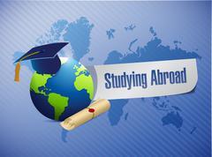 studying abroad globe sign world map illustration - stock illustration
