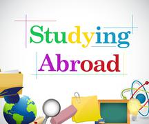 studying abroad education icons - stock illustration