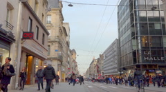 Crowd of people in a pedestrian shopping street - France 2 Stock Footage