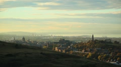 Edinburgh Scotland sunset from above Stock Footage