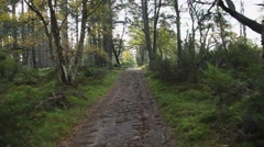 Hiking trail Scotland fall drifting shot Stock Footage