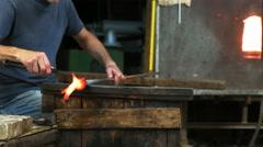 murano glass blower creates horse in venice - stock footage