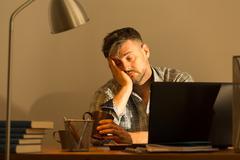 Fall asleep while working Stock Photos