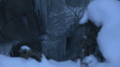 Frozen Ice Waterfall Climber At Top Winter Slow Motion Stock Footage