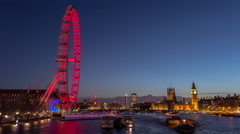 Time-lapse  London Eye City skyline - stock footage