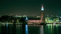 Stockholm City Hall and Central Station time-lapse Stock Footage