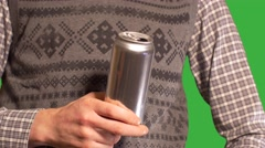 Man in Festive Christmas vest with beer dancing-green screen background - stock footage