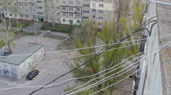 Internet cable between residential buildings Stock Footage