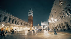 venice's piazza san marco at night wide view - stock footage