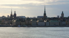 Stockholm old city view at sunset, sweeden Stock Footage