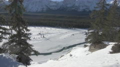 4k Beautiful Mountain Scenery Frozen Lake Snow Trees Forest Icy Peaks Jasper Stock Footage