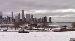 Chicago skyline near Lake Michigan on a cold winter day Stock Footage