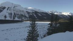 4k Beautiful Mountain Scenery Frozen Lake Snow Trees Forest Glacier Peaks Jasper Stock Footage