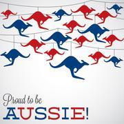 Kangaroo ornament Australia day Card in vector format. - stock illustration