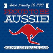 Typographic retro Australia Day card in vector format. - stock illustration