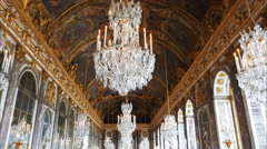 Stock Video Footage of gimbal shot of the ceiling of the hall of mirrors in the palace of versailles
