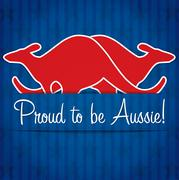Stock Illustration of Kangaroo sticker Australia Day card in vector format.