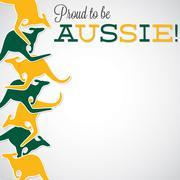 Kangaroo line Australia Day card in vector format. - stock illustration