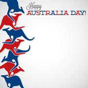 Kangaroo line Australia Day card in vector format. - stock illustration