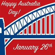 Harbour bridge sticker Australia Day card in vector format.. - stock illustration