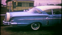 3087 new 1958 Chevrolet, 6 tailight, continental kit - vintage film home movie Stock Footage
