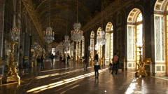 sunlit versailles palace hall of mirrors, paris - stock footage