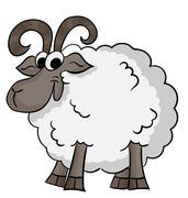 Cute cartoon sheep - stock illustration